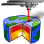 The Lasercake icon, an image of a laser cutting a cake that is also the Earth.